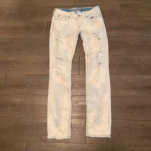EXPRESS bleached distressed Zelda Skinny Jeans
